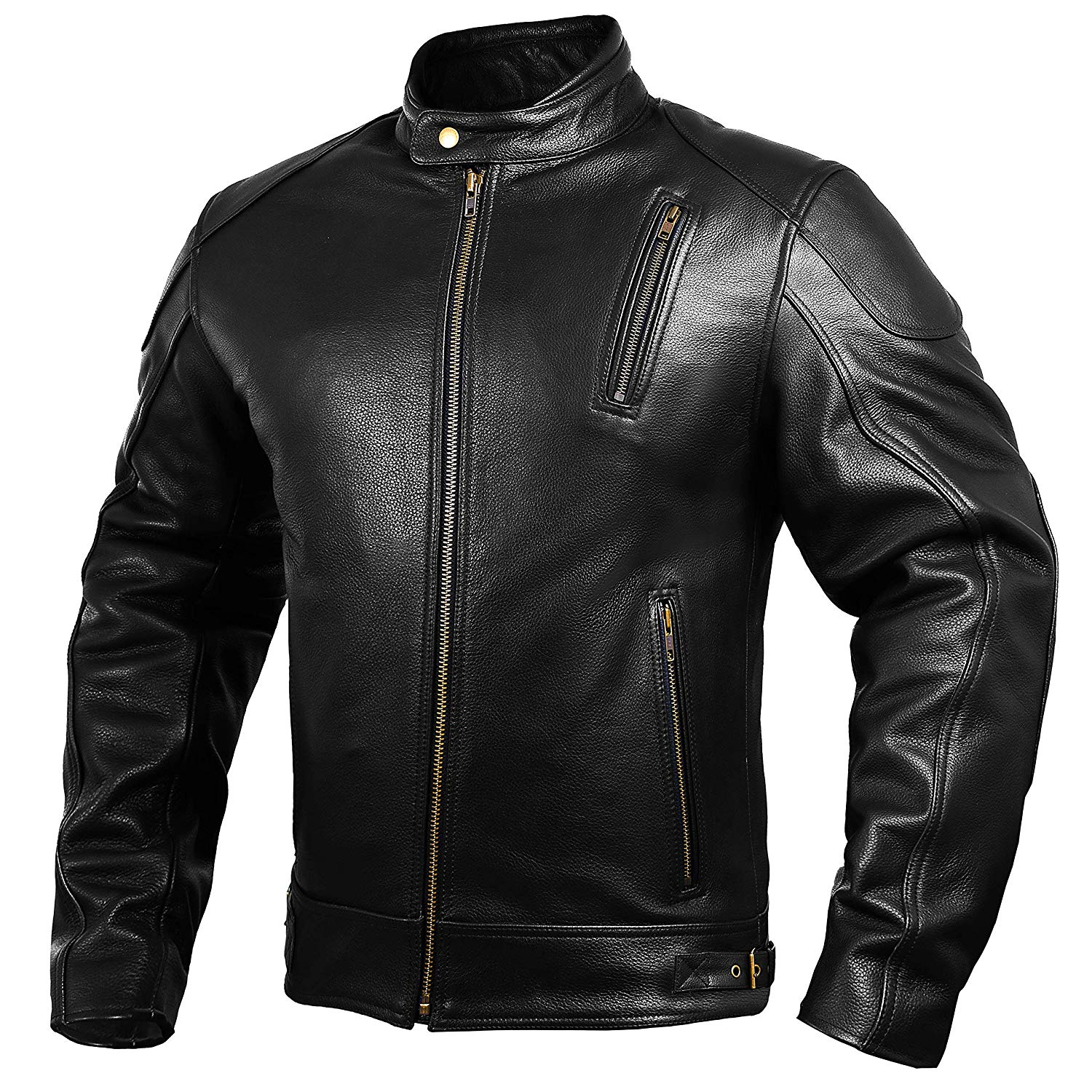 Mens Black Leather Racing